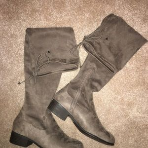 Tall boots, taupe